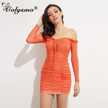 Colysmo Long Sleeve Strapless Ruffles Dress  Sexy Fold Tight Off Shoulder Dresses Strapless Orange Net yarn Party Vestidos New