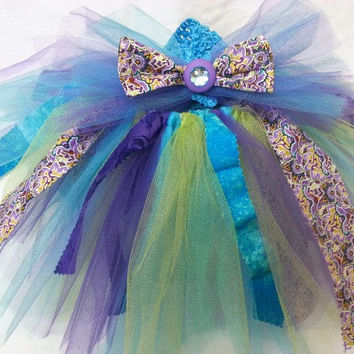 Fabric Tutu and Headband - 12 to 24 Months Tutu - Birthday Tutu - 1 to 2 year Tutu - Aqua Purple Lime - Scrappy Tutu - Girls Costume -