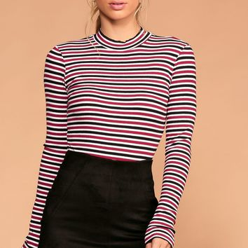 Dina White and Burgundy Stripe Turtleneck Top