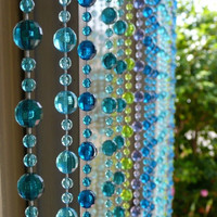 Beaded Curtain -- Blue & Green Mini Balls