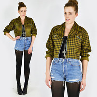 vtg 90s grunge revival punk OLIVE green BUFFALO check plaid print ZIPPER cropped crop jacket M L