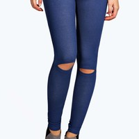 Bea Split Knee Pocket Back Denim Look Jeggings