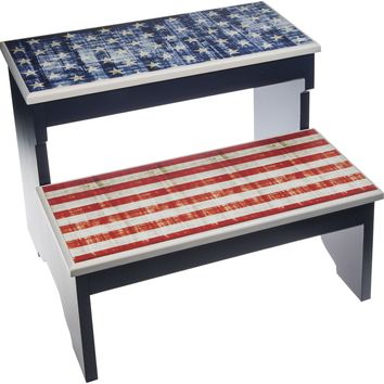 Red, White and Blue, Stars and Stripes, 2 Step Decorative Wood Step Stool
