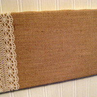 Burlap and Lace Bulletin Board for your Wedding or office or kitchen uses tacks or pins