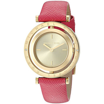 Michael Kors Women's MK2525 'Averi' Reversible Dial Pink Leather Watch