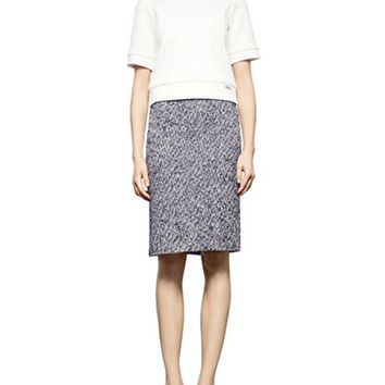 Pink Tartan Wool Blend Herringbone Pencil Skirt