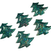 Green holographic Christmas tree padded appliqués