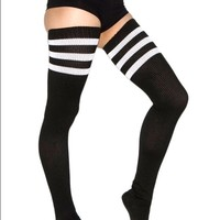 Striped thigh high socks (DISCONTINUED)