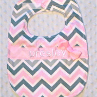 Personalized Bib with Matching Bow - Baby Girl Pink and Gray Chevron