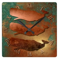 Copper Whales Square Wall Clock