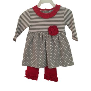 Three Sisters Gray Dot/Red Infant Legging Set