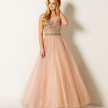 57c88841639c Glamour by Terani Couture Illusion Yoke Beaded BallGown | Dillards