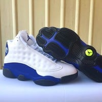 Air Jordan retro 13 White/Blue basketball shoes sneakers