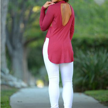 Solid Cut Out Back Long-Sleeved T-Shirt