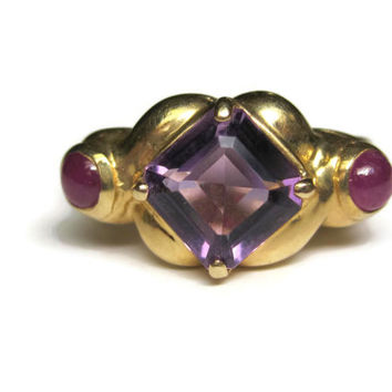 Vintage 14K Amethyst and Ruby Ring Size 7