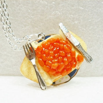 Beans on Toast  Pendant Polymer clay