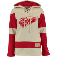 Women's Detroit Red Wings Old Time Hockey Tan Vintage Lacer Heavyweight Hoodie