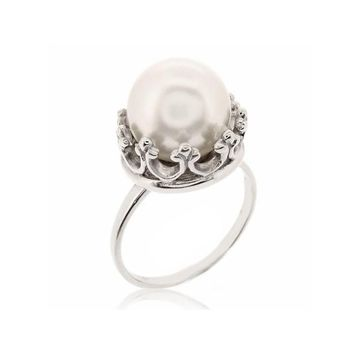 CROWN AND PEARL RING