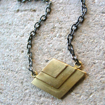 tiny chevron art deco necklace