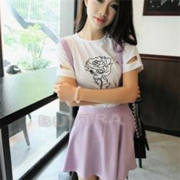 Hot Selling  Women Suspender Skirt Pastel Skater Flared Pleated Mini Dress Belt Waist