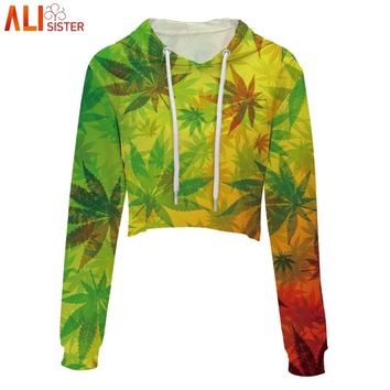 Alisister Women Crop Hoodies Sweatshirt Weed Leaf Skull Print Short Hooded Pullover Summer Autumn Hip Hop Clothing