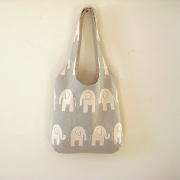 Gray Elephant Bag, Elephant Purse, Slouchy Elephant Bag, Stylish Elephant Tote in Gray and Cream, Ready to Ship