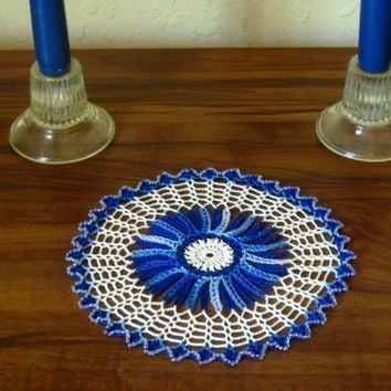 Crocheted Lace Blue and White Starburst Doily - Holiday Crystal Edging