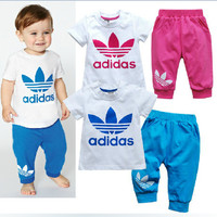 Kids Boys Girls Baby 'Adidas' Logo & Print Sports Casual Wear Set For Children