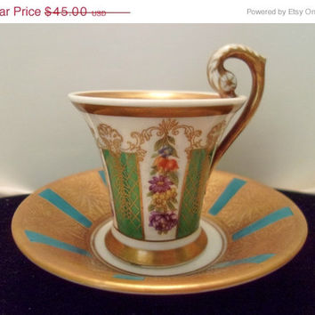 ON SALE Vintage 1930's 40's Porcelain Bavarian Hutschenreuther Selb LHS Demitasse Hand Painted Cup and Saucer 35