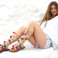 Greek lace up Sandals, Pom Pom Leather  Sandals,  Tie up Sandals, hippie leather shoes, coloffull Valentine's gift for women