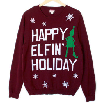 Ariana Grande Santa Tell Me Happy Elfin Holiday Ugly Christmas Sweater Mens XL