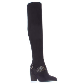MICHAEL Micheal Kors Brody Washer Studded Over The Knee Boots - Black