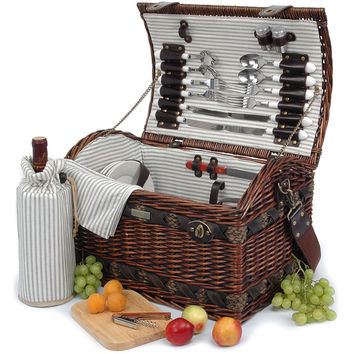 Willow picnic basket with deluxe for 4 Persons - The Couture Collection - A