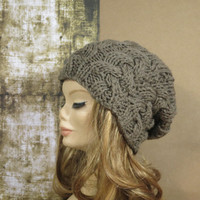 Cable Knit Hat Slouchy Women Men Slouchy Beanie Cable Hat Knit Hat Chunky Knit Winter Fall Accessories Slouchy Knitted Pale Brown