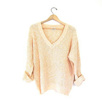 Vintage peach & white boxy knit sweater. Cotton Ramie Boho Beach Sheer Knit Pullover. Loose knit 80s preppy pullover. Women Large