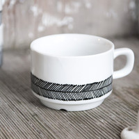 """Hand-painted vintage tea cup """"somewhat angular"""", black and white"""