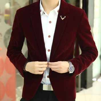 Free shipping 2017 Mens brand blazer jacket new arrival hot sale promotion Male clothing factory blazer masculino red velvet