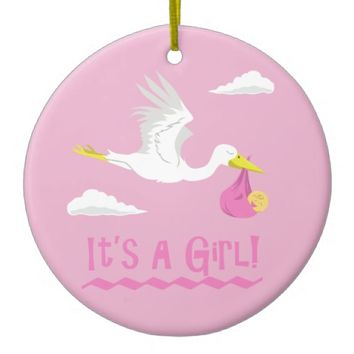 It's a Girl! Double-Sided Ceramic Round Christmas Ornament