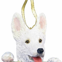 "German Shepherd Ornament White ""Santa's Pals"" With Personalized Name Plate A Great Gift For German Shepherd Lovers"