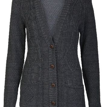 Aislinn Womens Cable Knitted Grandad Button Cardigan One Size (UK Fits 8-14) Charcoal