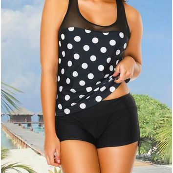 C| Chicloth Sport Tank Top Boxer Polka Dot Print Racer Back Wireless Push Up Two Piece Set