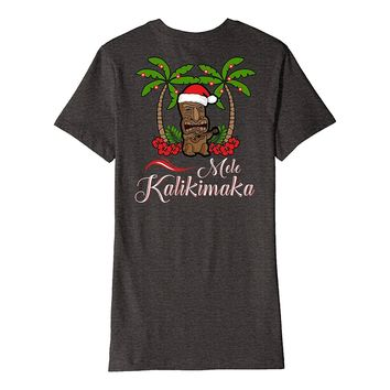 Tiki Mele Kalikimaka Christmas T-Shirt Hawaii Ukulele Back