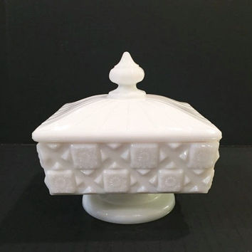 Westmoreland Old Quilt Milk Glass Candy Dish with Lid, Pedestal Candy Box/Candy Bowl with Cover, Wedding Box with Lid, Trinket Dish With Lid