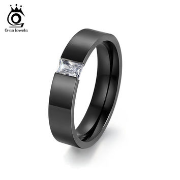 ORSA JEWELS Tension Setting Square Zircon Rings for Men Women Gold Black Color Titanium Steel Ring for Parties OTR78