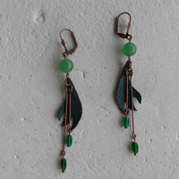 Dangle Botanical Earrings with Aventurine Stones+Leather+Glass+Copper ~Glow in Grasses~ Elvish Foresty Flowy OOAK Earrings in Emerald Greens