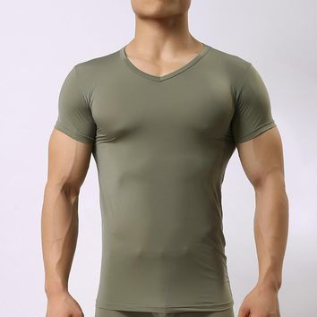 Brand Man Sexy Sheer Spandex Compression Undershirts/Men Seamless Silk V-neck Transparent sheer Shirt Gay underwear