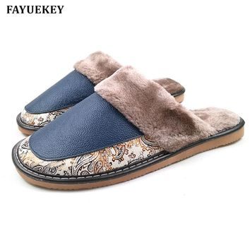 FAYUEKEY Spring Autumn Winter Genuine Leather Men Print Home Indoor Outdoor Slippers Warm Cotton Plush Flat Shoes Boys Gift