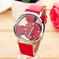 relogio feminino Fashion Cartoon Mickey Mouse women Watch Transparent Hollow quartz watches Leather strap wristwatch girl Gift