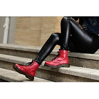 dr martens classic 8 holes women boots color red