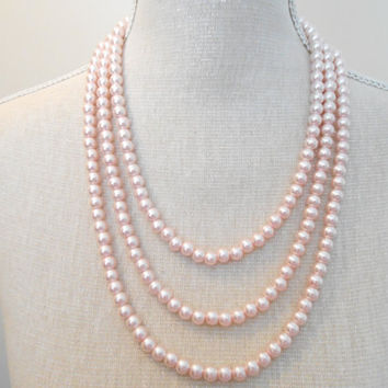 Pale pink necklace, 3 strand necklace, Bridal necklace, Pearls necklace, Bridesmaid necklace, Wedding necklace, Bridesmaid jewelry